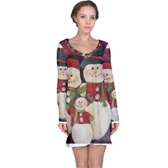 Snowman Family No. 2 Long Sleeve Nightdresses