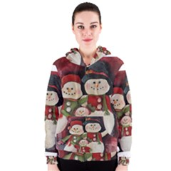 Snowman Family No. 2 Women s Zipper Hoodies