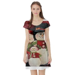 Snowman Family No. 2 Short Sleeve Skater Dresses