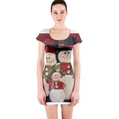 Snowman Family No. 2 Short Sleeve Bodycon Dresses