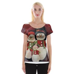 Snowman Family No. 2 Women s Cap Sleeve Top