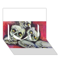Halloween Skulls No 1 I Love You 3d Greeting Card (7x5)  by timelessartoncanvas
