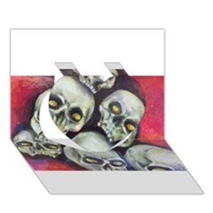 Halloween Skulls No 1 Heart 3d Greeting Card (7x5)  by timelessartoncanvas