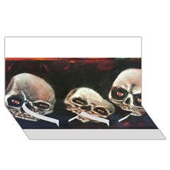 Halloween Skulls No  2 Twin Heart Bottom 3d Greeting Card (8x4)  by timelessartoncanvas