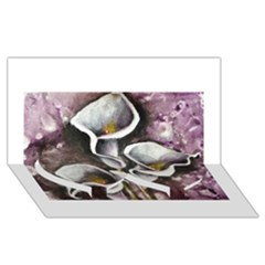 Gala Lilies Twin Heart Bottom 3d Greeting Card (8x4)