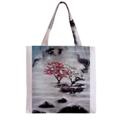 Mountains, Trees And Fog Zipper Grocery Tote Bags