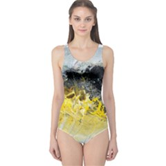 Bright Yellow Abstract Women s One Piece Swimsuits by timelessartoncanvas
