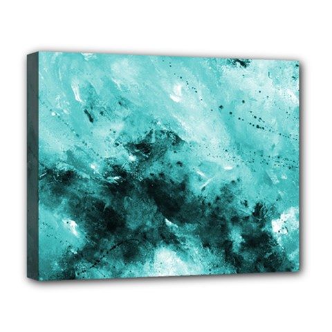 Turquoise Abstract Deluxe Canvas 20  X 16   by timelessartoncanvas