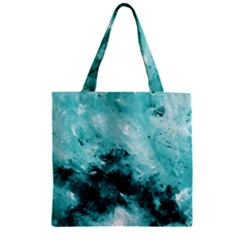 Turquoise Abstract Zipper Grocery Tote Bags
