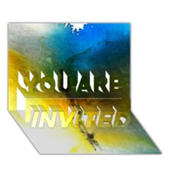 Watercolor Abstract YOU ARE INVITED 3D Greeting Card (7x5)