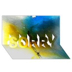Watercolor Abstract SORRY 3D Greeting Card (8x4)