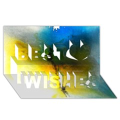 Watercolor Abstract Best Wish 3D Greeting Card (8x4)