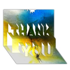 Watercolor Abstract THANK YOU 3D Greeting Card (7x5)