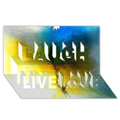 Watercolor Abstract Laugh Live Love 3D Greeting Card (8x4)