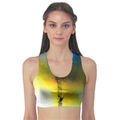 Watercolor Abstract Sports Bra