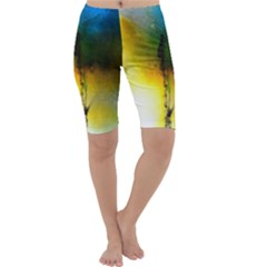 Watercolor Abstract Cropped Leggings