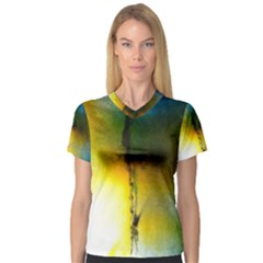 Watercolor Abstract Women s V-Neck Sport Mesh Tee