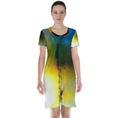 Watercolor Abstract Short Sleeve Nightdresses