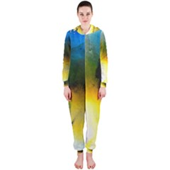 Watercolor Abstract Hooded Jumpsuit (Ladies)