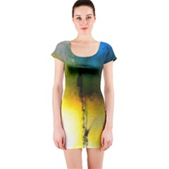 Watercolor Abstract Short Sleeve Bodycon Dresses