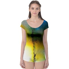 Watercolor Abstract Short Sleeve Leotard