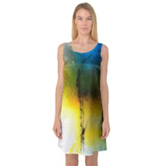 Watercolor Abstract Sleeveless Satin Nightdresses