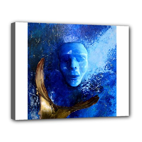 Blue Mask Canvas 14  X 11  by timelessartoncanvas