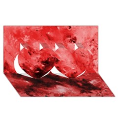 Red Abstract Twin Hearts 3d Greeting Card (8x4)