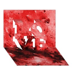 Red Abstract Love 3d Greeting Card (7x5)