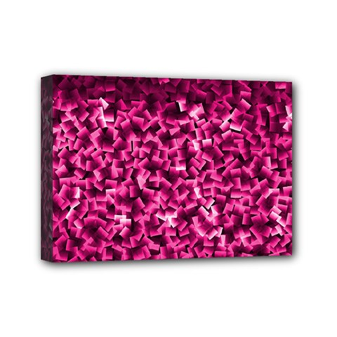 Pink Cubes Mini Canvas 7  X 5  by timelessartoncanvas