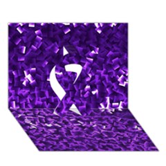 Purple Cubes Ribbon 3d Greeting Card (7x5)  by timelessartoncanvas