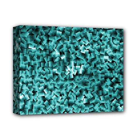 Teal Cubes Deluxe Canvas 14  X 11
