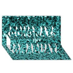 Teal Cubes Congrats Graduate 3d Greeting Card (8x4)  by timelessartoncanvas