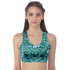 Teal Cubes Sports Bra by timelessartoncanvas