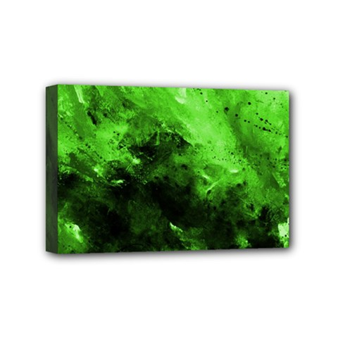 Bright Green Abstract Mini Canvas 6  X 4