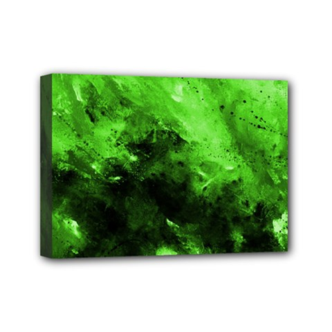 Bright Green Abstract Mini Canvas 7  X 5  by timelessartoncanvas