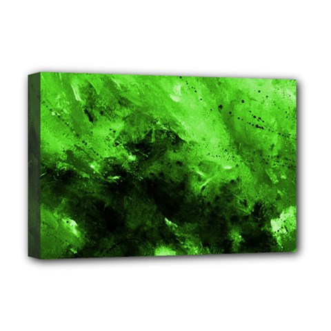 Bright Green Abstract Deluxe Canvas 18  X 12