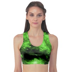 Bright Green Abstract Sports Bra by timelessartoncanvas
