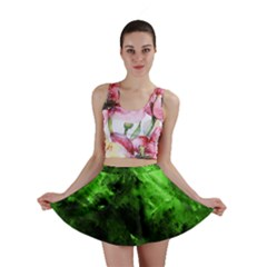 Bright Green Abstract Mini Skirts