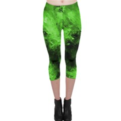 Bright Green Abstract Capri Leggings