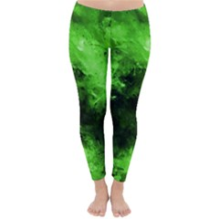 Bright Green Abstract Winter Leggings