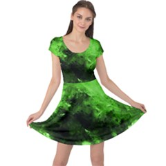 Bright Green Abstract Cap Sleeve Dresses