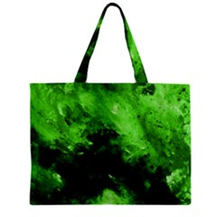 Bright Green Abstract Zipper Tiny Tote Bags