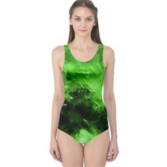 Bright Green Abstract Women s One Piece Swimsuits