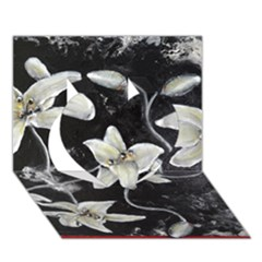 Black And White Lilies Heart 3d Greeting Card (7x5)  by timelessartoncanvas