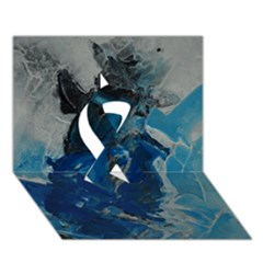 Blue Abstract Ribbon 3d Greeting Card (7x5)  by timelessartoncanvas