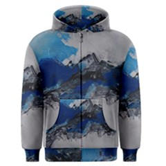 Blue Abstract No 4 Men s Zipper Hoodies by timelessartoncanvas
