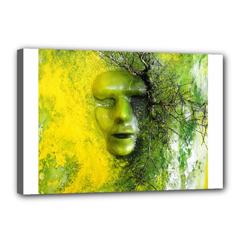 Green Mask Canvas 18  X 12  by timelessartoncanvas