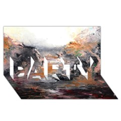 Natural Abstract Landscape Party 3d Greeting Card (8x4)