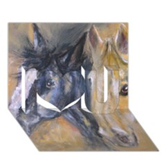2 Horses I Love You 3d Greeting Card (7x5)  by timelessartoncanvas